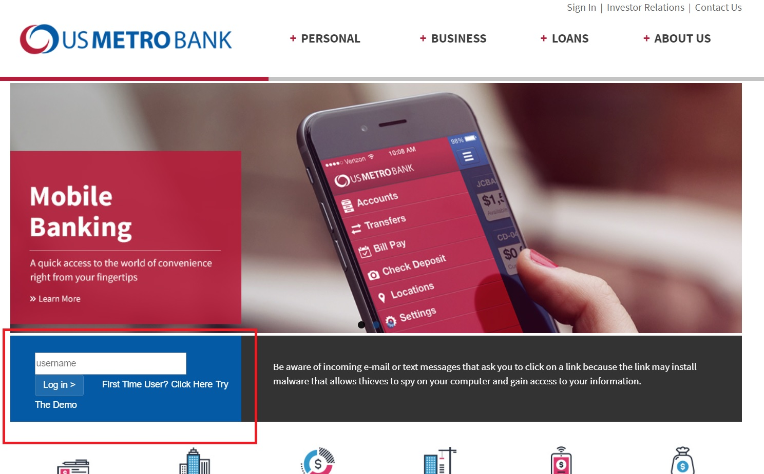 US Metro Bank Online Banking Login